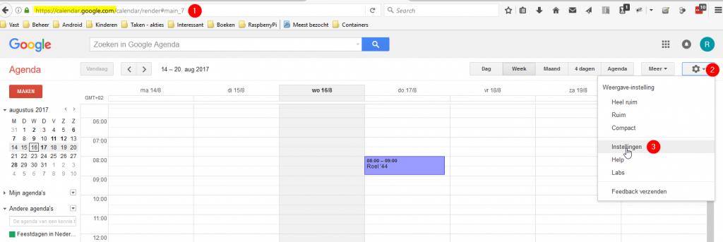 Google Agenda - route naar instellingen